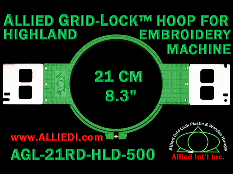 21 cm (8.3 inch) Round Allied Grid-Lock Plastic Embroidery Hoop - Highland 500