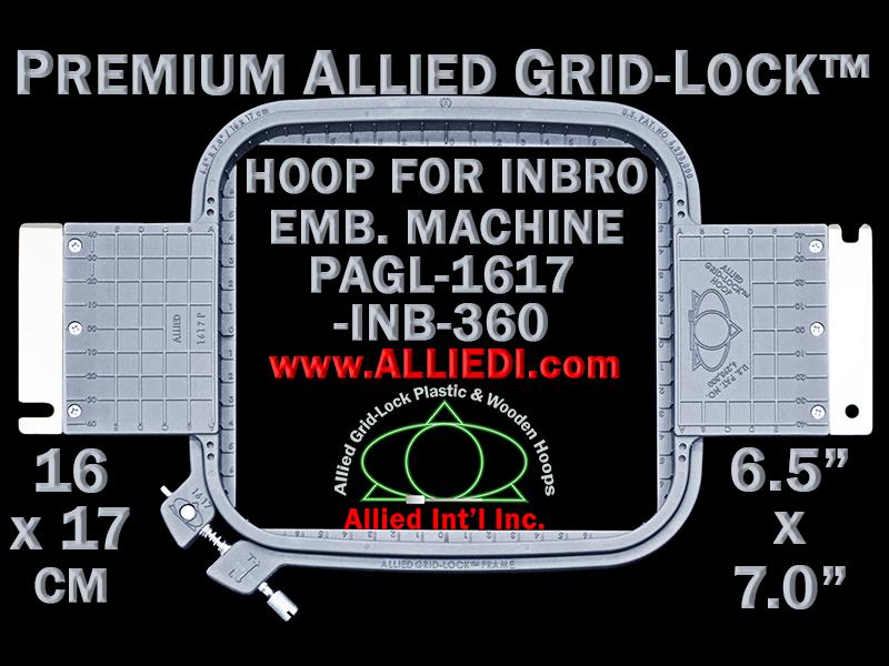16 x 17 cm (6.5 x 7 inch) Rectangular Premium Allied Grid-Lock Plastic Embroidery Hoop - Inbro 360