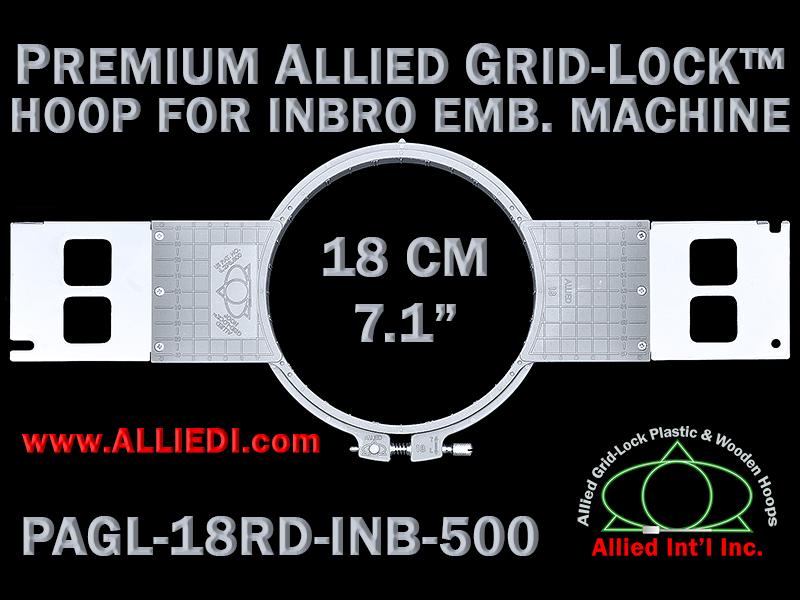 18 cm (7.1 inch) Round Premium Allied Grid-Lock Plastic Embroidery Hoop - Inbro 500
