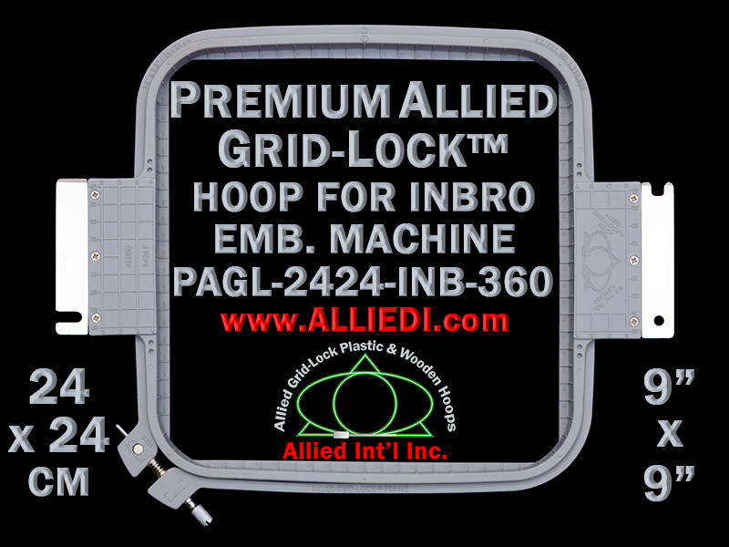 24 x 24 cm (9 x 9 inch) Square Premium Allied Grid-Lock Plastic Embroidery Hoop - Inbro 360