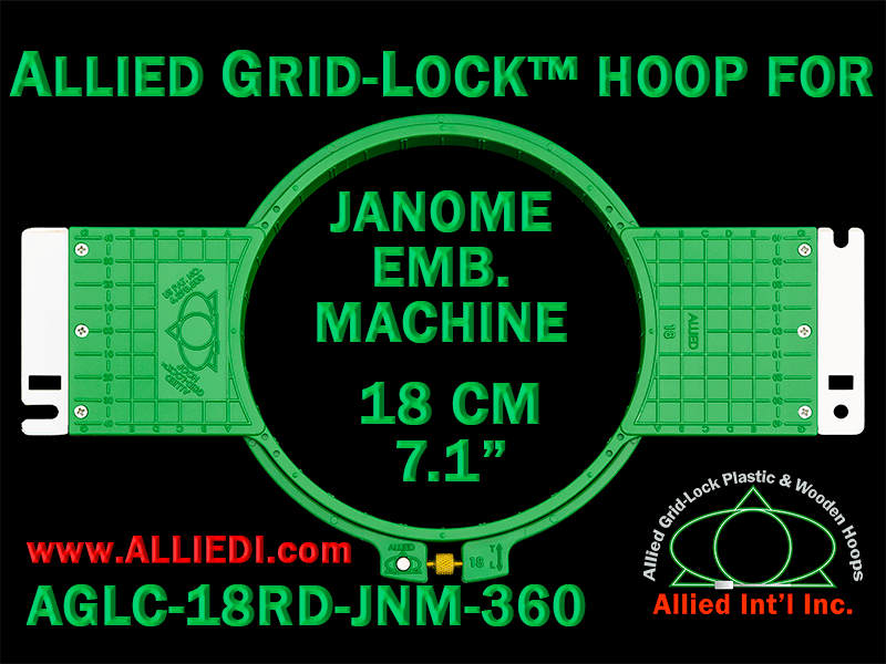 18 cm (7.1 inch) Round Allied Grid-Lock (New Design) Plastic Embroidery Hoop - Janome 360