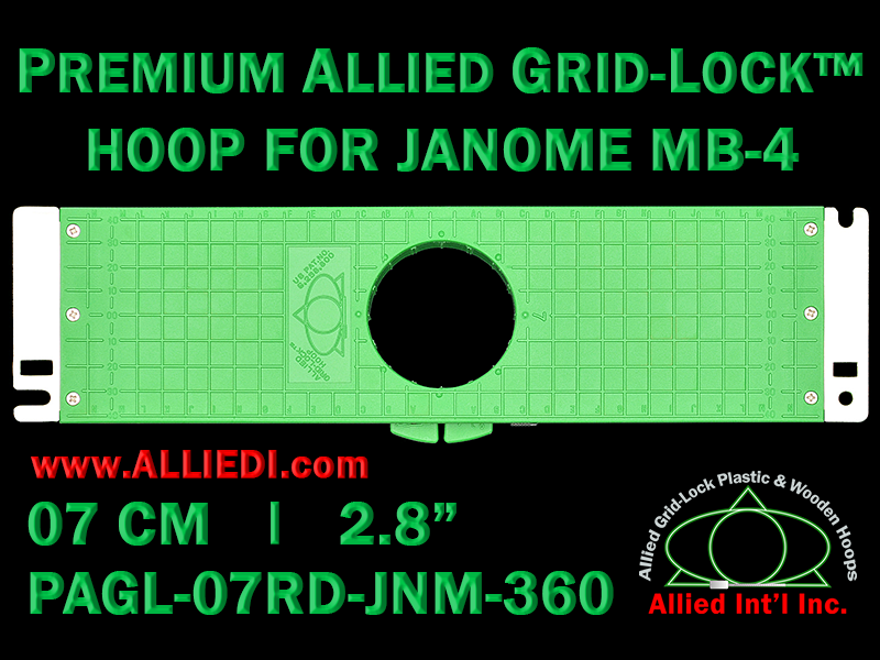 7 cm (2.8 inch) Round Premium Allied Grid-Lock Plastic Embroidery Hoop - Janome 360