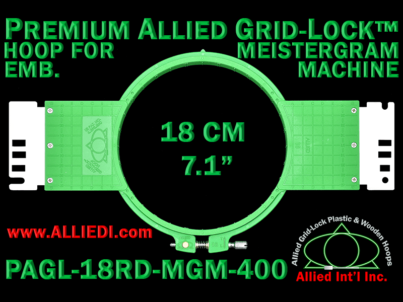 18 cm (7.1 inch) Round Premium Allied Grid-Lock Plastic Embroidery Hoop - Meistergram 400