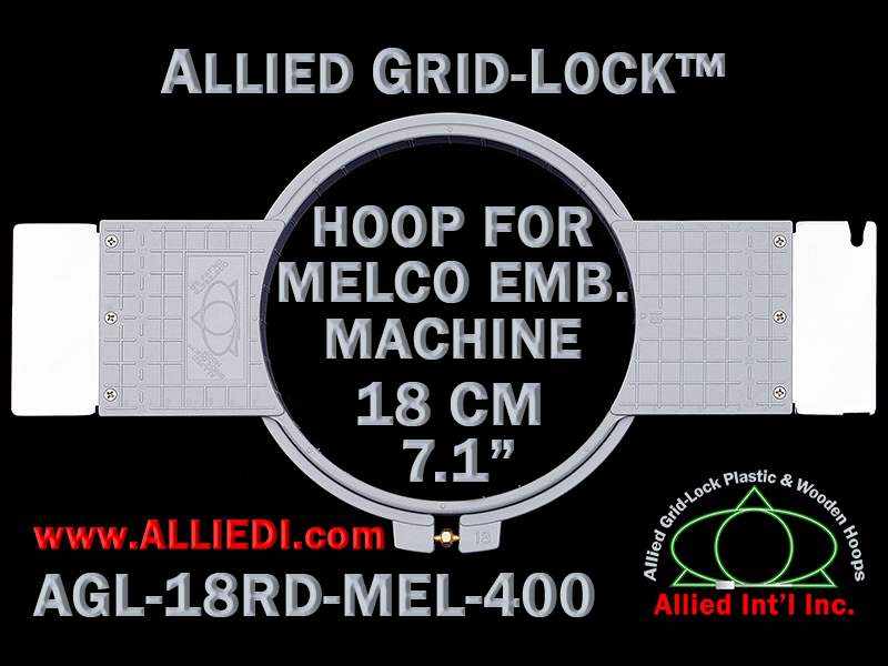 18 cm (7.1 inch) Round Allied Grid-Lock Plastic Embroidery Hoop - Melco 400
