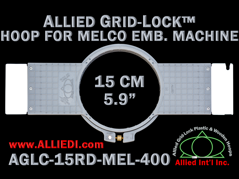 15 cm (5.9 inch) Round Allied Grid-Lock (New Design) Plastic Embroidery Hoop - Melco 400