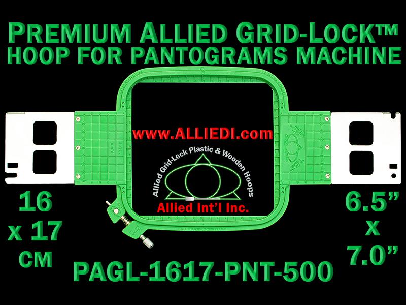 16 x 17 cm (6.5 x 7 inch) Rectangular Premium Allied Grid-Lock Plastic Embroidery Hoop - Pantograms 500