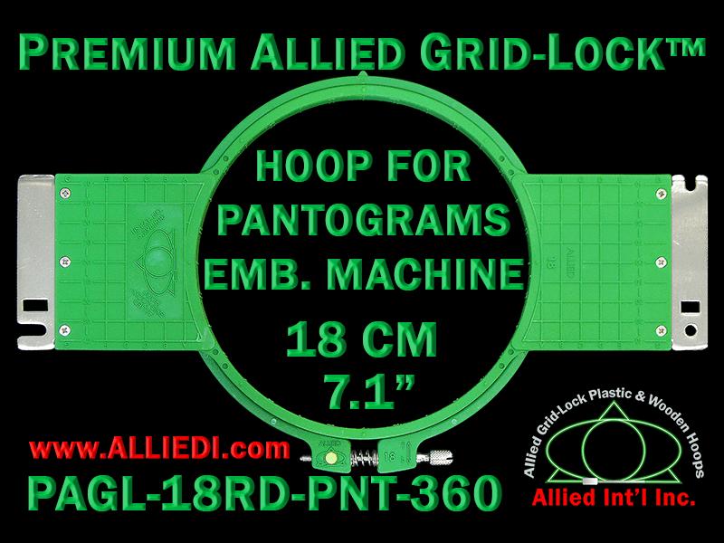 18 cm (7.1 inch) Round Premium Allied Grid-Lock Plastic Embroidery Hoop - Pantograms 360