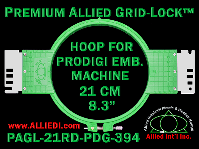 21 cm (8.3 inch) Round Premium Allied Grid-Lock Plastic Embroidery Hoop - Prodigi 394