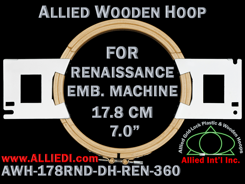 17.8 cm (7.0 inch) Round Allied Wooden Embroidery Hoop, Double Height - Renaissance 360