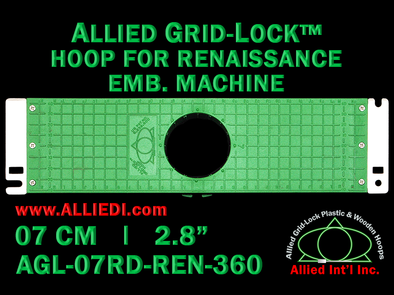 7 cm (2.8 inch) Round Allied Grid-Lock Plastic Embroidery Hoop - Renaissance 360