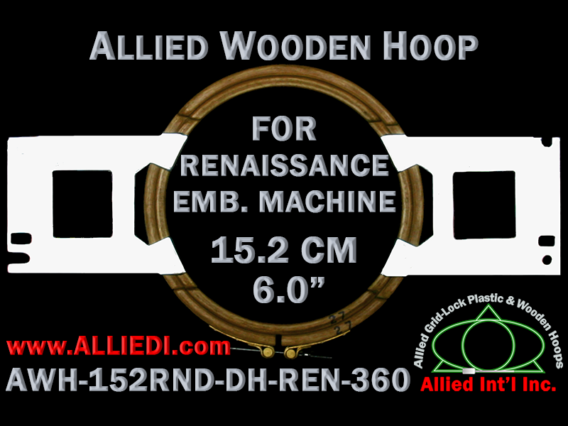 15.2 cm (6.0 inch) Round Allied Wooden Embroidery Hoop, Double Height - Renaissance 360