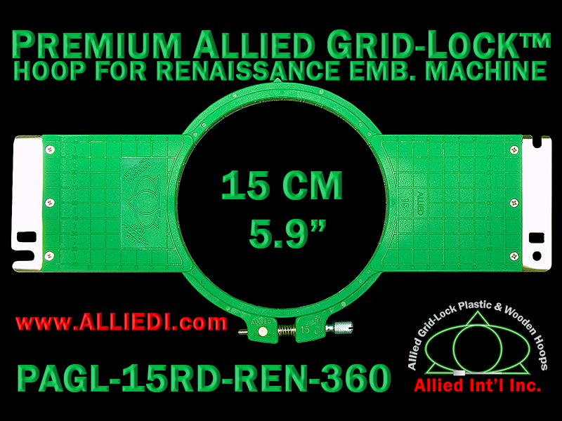 15 cm (5.9 inch) Round Premium Allied Grid-Lock Plastic Embroidery Hoop - Renaissance 360