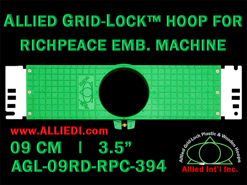 9 cm (3.5 inch) Round Allied Grid-Lock Plastic Embroidery Hoop - Richpeace 394