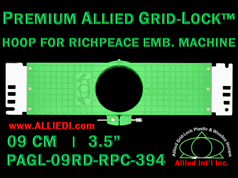 9 cm (3.5 inch) Round Premium Allied Grid-Lock Plastic Embroidery Hoop - Richpeace 394