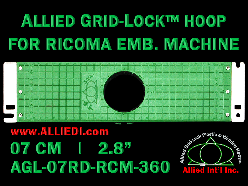 7 cm (2.8 inch) Round Allied Grid-Lock Plastic Embroidery Hoop - Ricoma 360