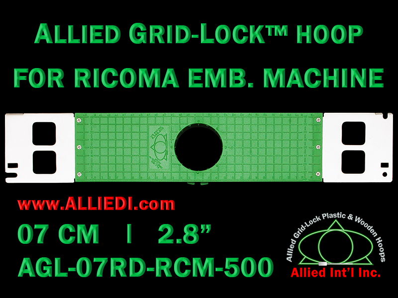 7 cm (2.8 inch) Round Allied Grid-Lock Plastic Embroidery Hoop - Ricoma 500