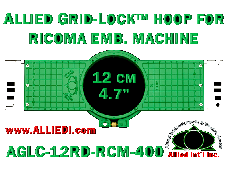 12 cm (4.7 inch) Round Allied Grid-Lock (New Design) Plastic Embroidery Hoop - Ricoma 400