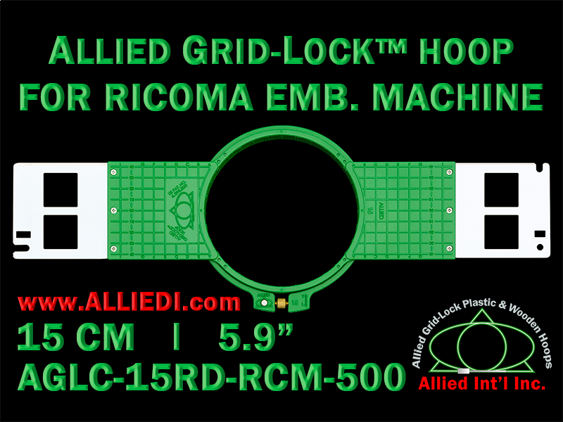 15 cm (5.9 inch) Round Allied Grid-Lock (New Design) Plastic Embroidery Hoop - Ricoma 500