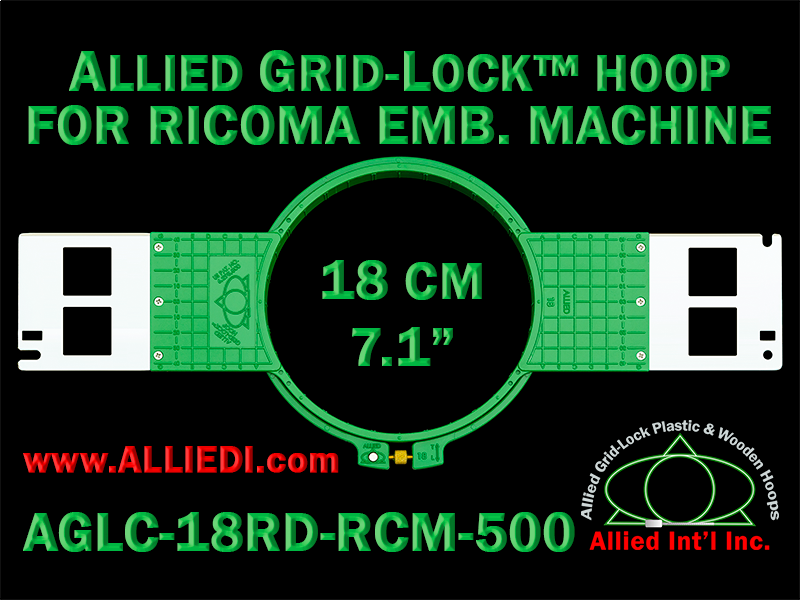 18 cm (7.1 inch) Round Allied Grid-Lock (New Design) Plastic Embroidery Hoop - Ricoma 500