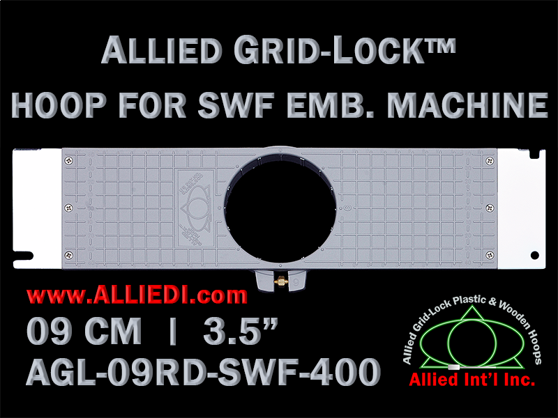 9 cm (3.5 inch) Round Allied Grid-Lock Plastic Embroidery Hoop - SWF 400