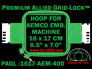 16 x 17 cm (6.5 x 7 inch) Rectangular Premium Allied Grid-Lock Plastic Embroidery Hoop - Aemco 400