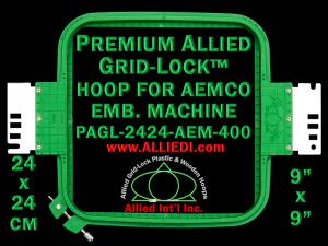 24 x 24 cm (9 x 9 inch) Square Premium Allied Grid-Lock Plastic Embroidery Hoop - Aemco 400