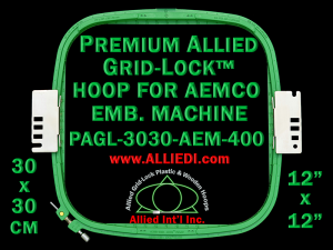 30 x 30 cm (12 x 12 inch) Square Premium Allied Grid-Lock Plastic Embroidery Hoop - Aemco 400