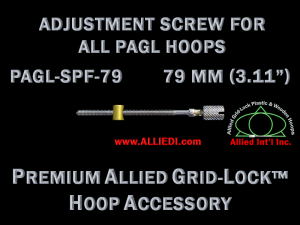 79 mm (3.11 inch) Knurled Hoop Adjustment Screw with Barrel Nut for All Premium Allied Grid-Lock Embroidery Hoops