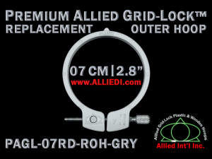 7 cm (2.8 inch) Round Premium Version Allied Grid-Lock Replacement Outer Embroidery Hoop / Ring / Frame - Gray