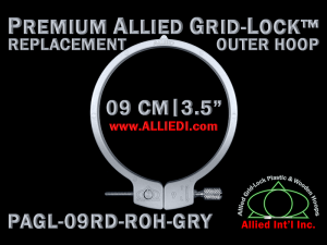 9 cm (3.5 inch) Round Premium Version Allied Grid-Lock Replacement Outer Embroidery Hoop / Ring / Frame - Gray