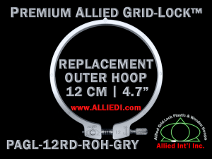 12 cm (4.7 inch) Round Premium Version Allied Grid-Lock Replacement Outer Embroidery Hoop / Ring / Frame - Gray