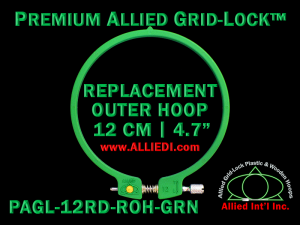 12 cm (4.7 inch) Round Premium Version Allied Grid-Lock Replacement Outer Embroidery Hoop / Ring / Frame - Green