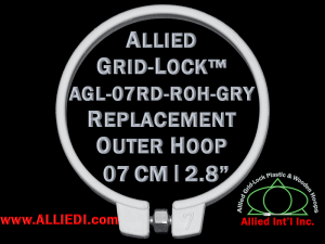 7 cm (2.8 inch) Round Standard Version Allied Grid-Lock Replacement Outer Embroidery Hoop / Ring / Frame - Gray