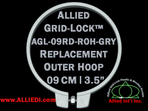 9 cm (3.5 inch) Round Standard Version Allied Grid-Lock Replacement Outer Embroidery Hoop / Ring / Frame - Grey