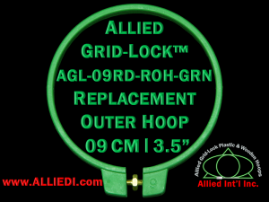 9 cm (3.5 inch) Round Standard Version Allied Grid-Lock Replacement Outer Embroidery Hoop / Ring / Frame - Green