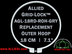 18 cm (7.1 inch) Round Standard Version Allied Grid-Lock Replacement Outer Embroidery Hoop / Ring / Frame - Grey