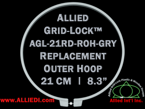 21 cm (8.3 inch) Round Standard Version Allied Grid-Lock Replacement Outer Embroidery Hoop / Ring / Frame - Grey