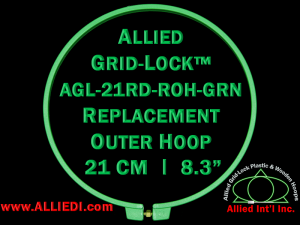 21 cm (8.3 inch) Round Standard Version Allied Grid-Lock Replacement Outer Embroidery Hoop / Ring / Frame - Green