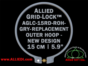 15 cm (5.9 inch) Round Standard Version Allied Grid-Lock (New Design) Replacement Outer Embroidery Hoop / Ring / Frame - Gray