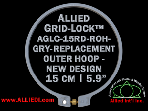 15 cm (5.9 inch) Round Standard Version Allied Grid-Lock (New Design) Replacement Outer Embroidery Hoop / Ring / Frame - Grey