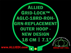 18 cm (7.1 inch) Round Standard Version Allied Grid-Lock (New Design) Replacement Outer Embroidery Hoop / Ring / Frame - Green