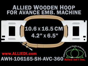Avance 10.6 x 16.5 cm (4.2 x 6.5 inch) Rectangular Allied Wooden Embroidery Hoop, Single Height - For 360 mm Sew Field / Arm Spacing