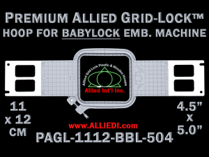 Baby Lock 11 x 12 cm (4.5 x 5 inch) Rectangular Premium Allied Grid-Lock Emb. Hoop for 504 mm Sew Field / Arm Spacing