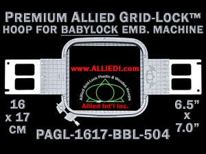 Baby Lock 16 x 17 cm (6.5 x 7 inch) Rectangular Premium Allied Grid-Lock Emb. Hoop for 504 mm Sew Field / Arm Spacing
