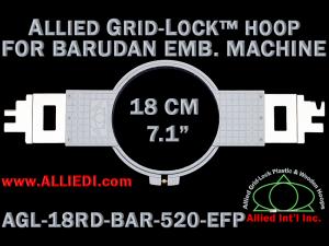 18 cm (7.1 inch) Round Allied Grid-Lock Plastic Embroidery Hoop - Barudan 520 EFP