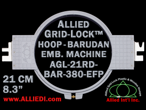 21 cm (8.3 inch) Round Allied Grid-Lock Plastic Embroidery Hoop - Barudan 380 EFP
