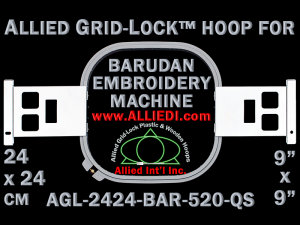 24 x 24 cm (9 x 9 inch) Square Allied Grid-Lock Plastic Embroidery Hoop - Barudan 520 QS