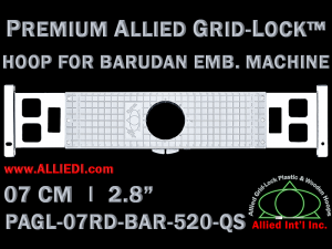 7 cm (2.8 inch) Round Premium Allied Grid-Lock Plastic Embroidery Hoop - Barudan 520 QS