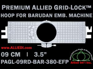 9 cm (3.5 inch) Round Premium Allied Grid-Lock Plastic Embroidery Hoop - Barudan 380 EFP