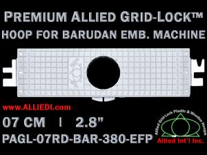 7 cm (2.8 inch) Round Premium Allied Grid-Lock Plastic Embroidery Hoop - Barudan 380 EFP